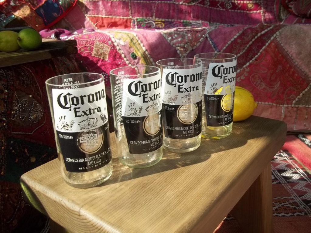 Set of 2 or 4 Beer Bottle Glasses