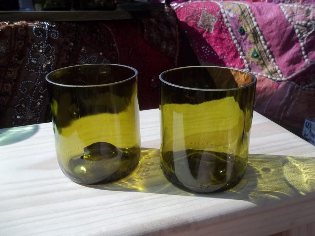Set of 2 Reclaimed Wine Bottle Tumblers