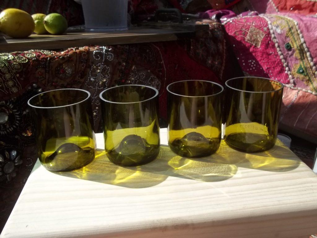 Set of 4 Reclaimed Wine Bottle Tumblers