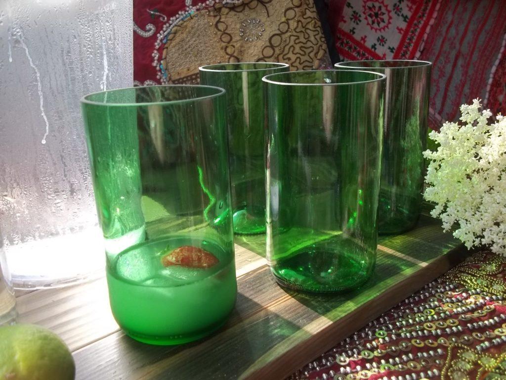 Set of 4 Large Reclaimed Wine Bottle Beakers