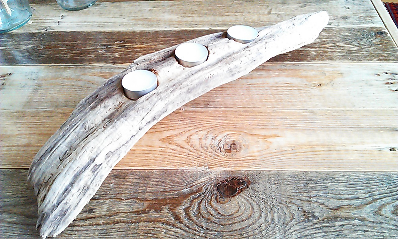 Driftwood Handmade Tealight Candle Holder Estuary Home